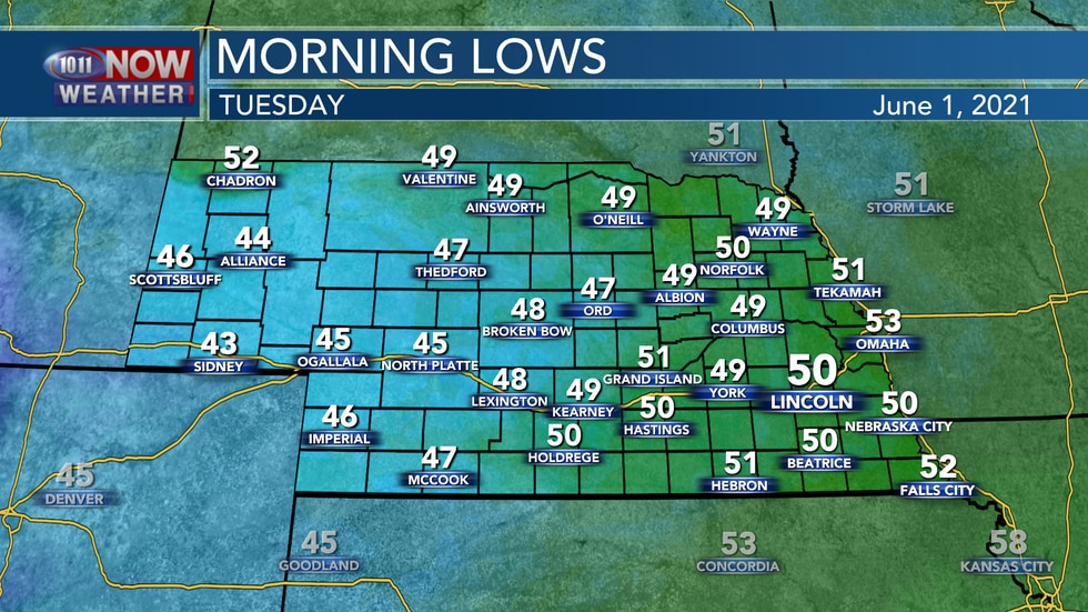 Morning lows are expected to reach the mid 40s to low 50s across the state.