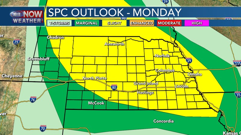 Storms are forecast to move out of the Dakotas into Monday evening with scattered severe storms...