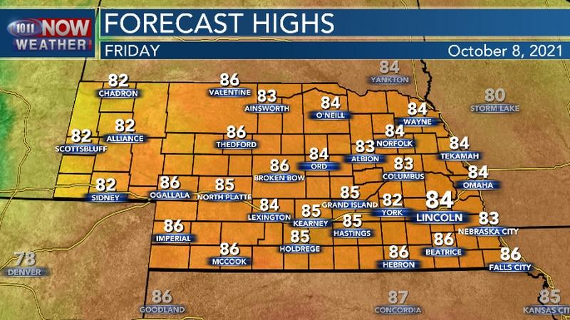 Warm temperatures continue on Friday.