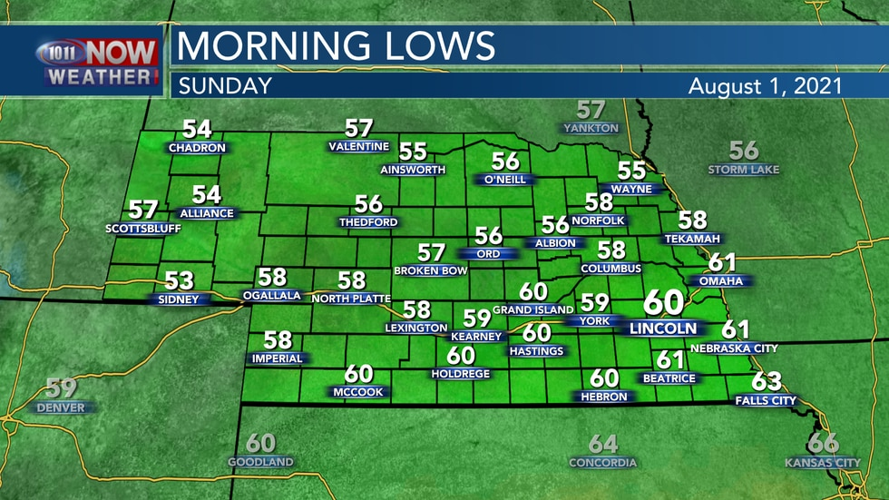 Look for a cool start to Sunday with morning lows in the 50s to low 60s.
