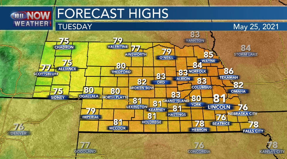 Most of Nebraska will see high temperatures in the upper 70s to the lower 80s.