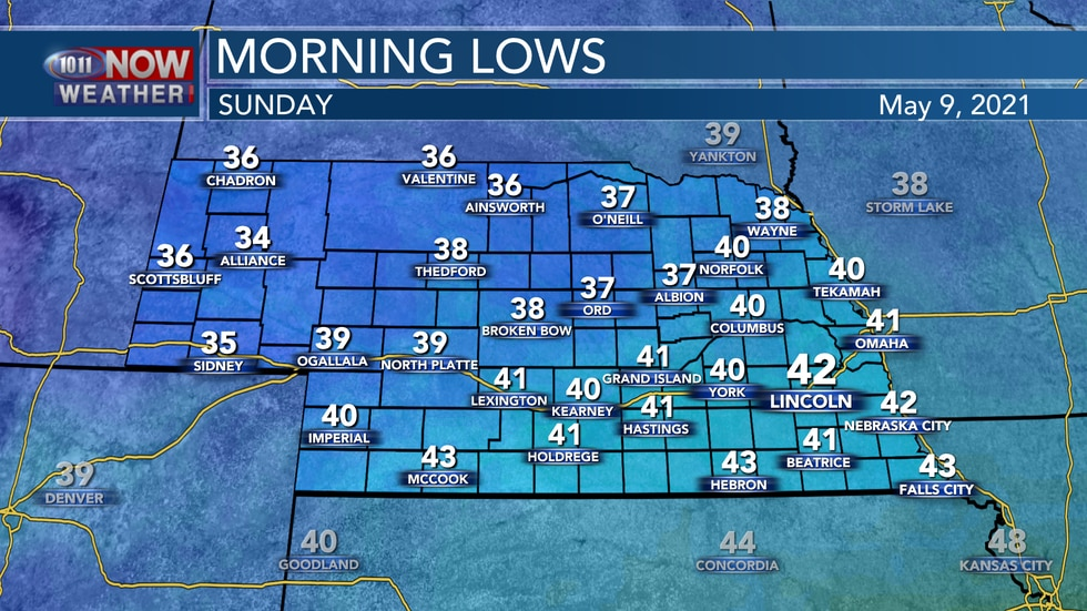 Chilly temperatures in the 30s and low 40s are expected by early Sunday morning.