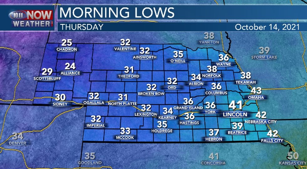Chilly temperatures expected tonight with frost likely in western Nebraska with possible frost...